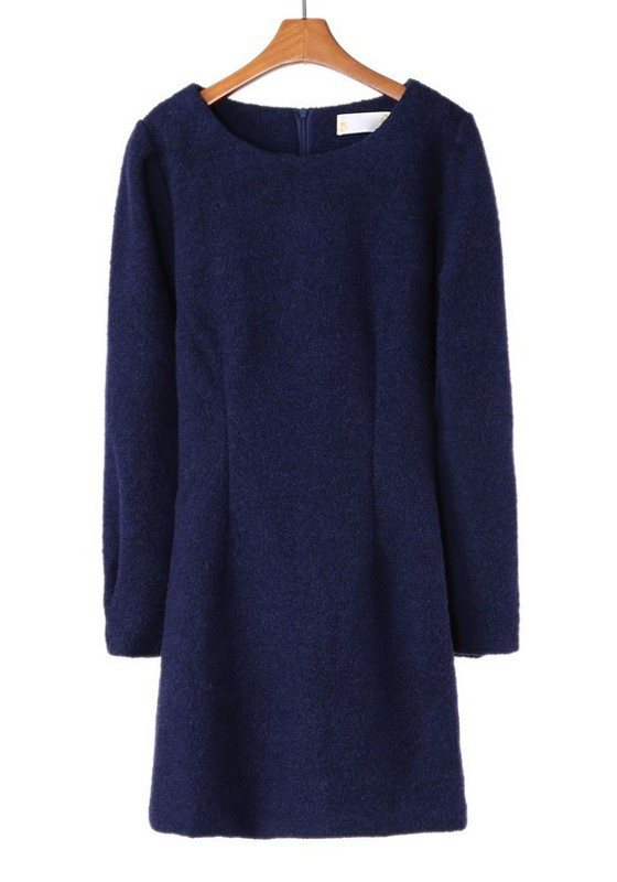 Fabulous Navy Blue Zipper Long Sleeve Wrap Wool Dress - Mini Dresses - Dresses SM24