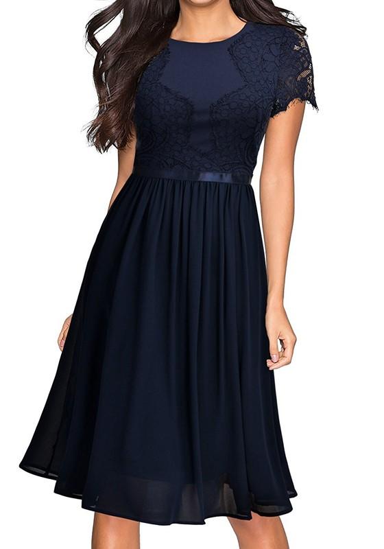 Abendkleid blau midi