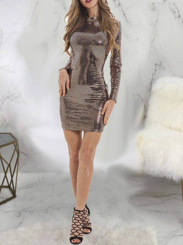 Golden Patchwork Sequin Bodycon Long Sleeve Round Neck Sparkly Glitter New Year S Eve Mini Dress Mini Dresses Dresses