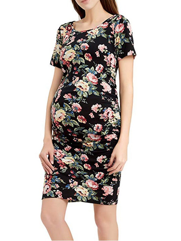 Black Floral Print Pleated Banquet Round Neck Fashion Maternity Dress Maternity Dresses Women S Maternity