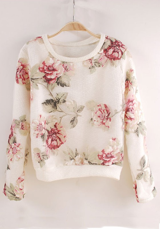 White Flowers Print Long Sleeve Acrylic T Shirt