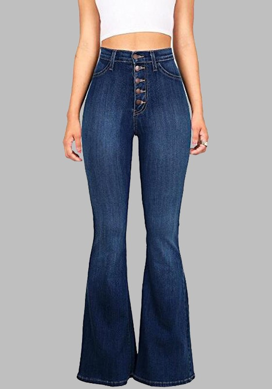 Top Dark Blue Buttons Pockets Vintage Bell-bottoms High Waisted Casual  IM59