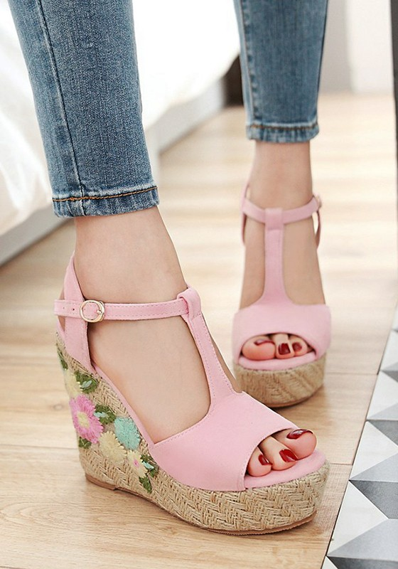Pink Round Toe Wedges Embroidery Buckle