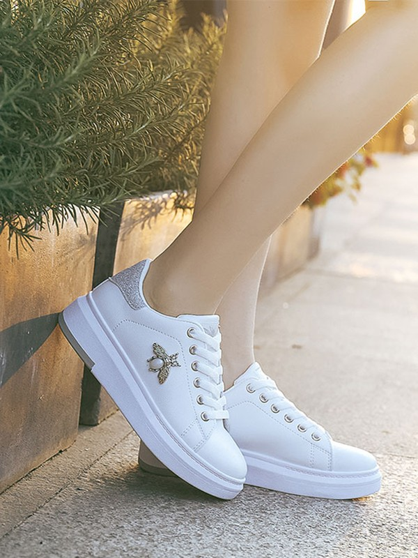 White-Silver Round Toe Flat Sequin
