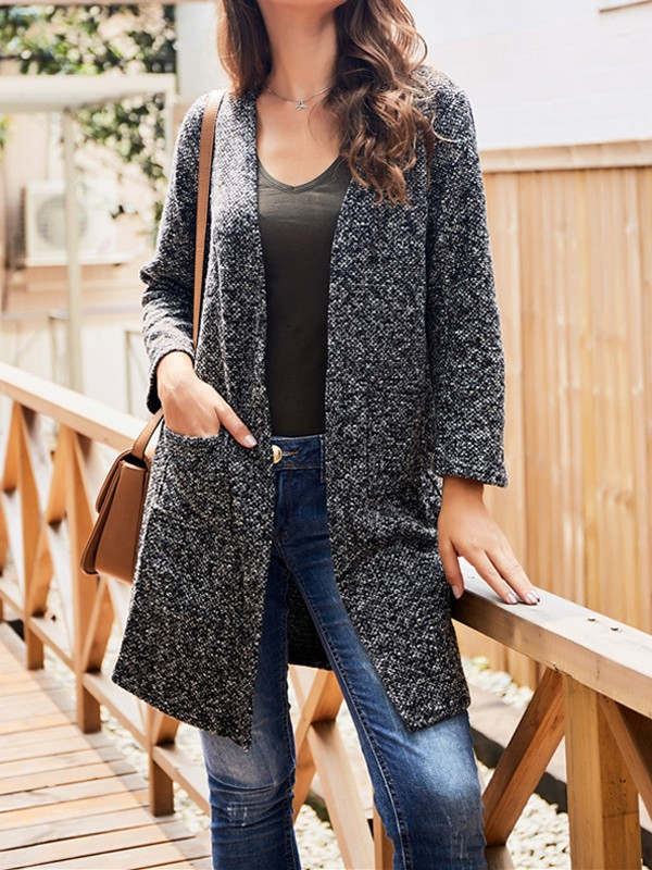 Dark Grey Pockets V neck Long Sleeve Oversize Cardigan Sweater