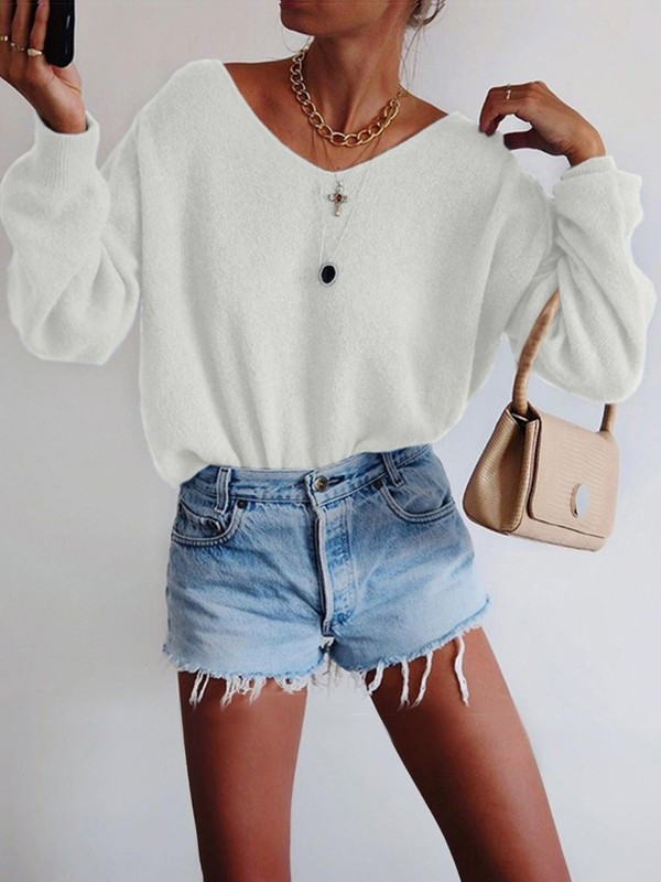 White Oversize V neck Long Sleeve Fashion Pullover Sweater