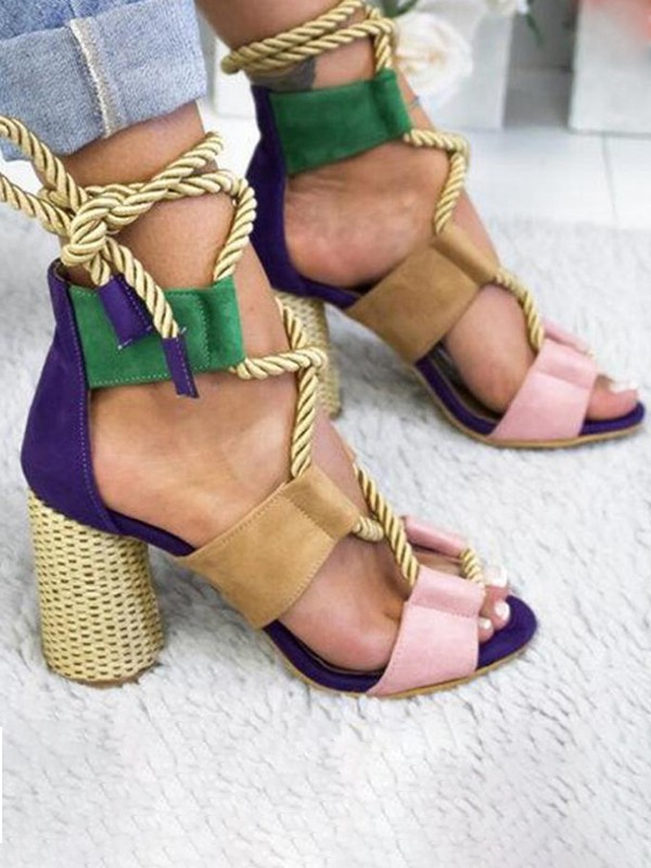 Multicolor Round Toe Chunky Cut Out