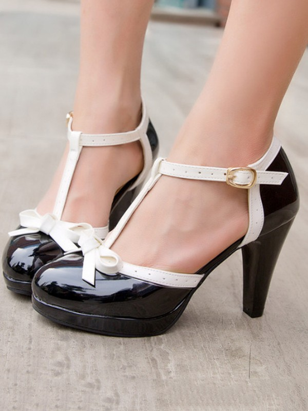 Black Round Chunky Bow Cute Casual
