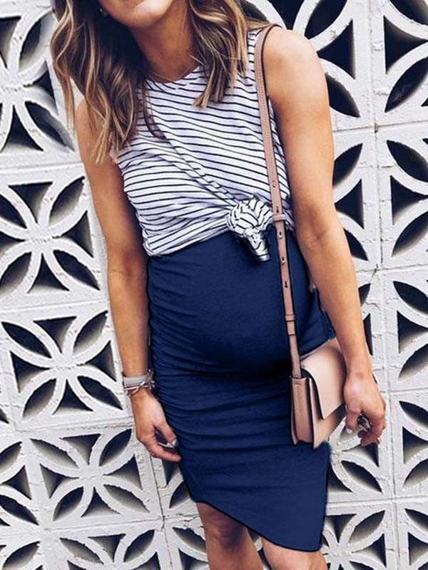 Blue Striped Knot False 2 In 1 Bodycon Maternity For Babyshowes Maxi Dress Happy Hour