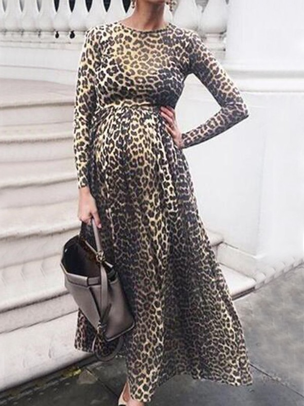 Yellow Leopard Print Round Neck Long Sleeve High Waisted Party Maternity Dress Maternity Dresses Women S Maternity