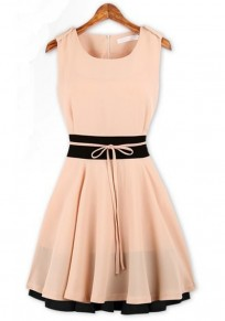 Pink Patchwork Falbala Sleeveless Above Knee Chiffon Dress