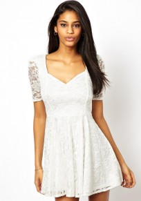 White Plain Lace Square Neck Mini Dress