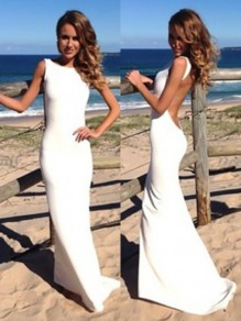 White Shoulder-Strap Prom Gowns Backless Sleeveless Maxi Dress