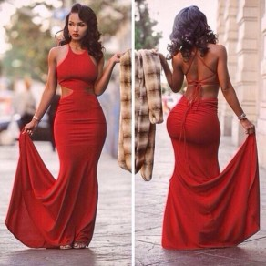 Red Plain Cut Out Cross Back Tie Back Backless Maxi Dress