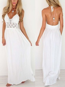 White Plain Condole Belt Hollow-out V-neck Floor Length Maxi Dress