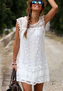 White Plain Lace Double-deck Round Neck Sleeveless Dress
