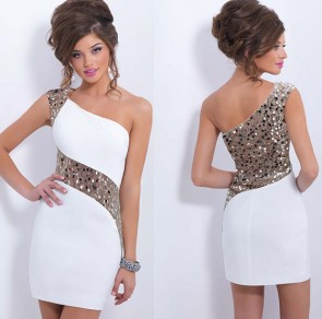 White Patchwork Lace Sequin Asymmetric Shoulder Sexy Mini Dress