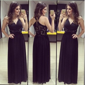 Black Patchwork Lace Hollow-out V-neck Sexy Chiffon Maxi Dress