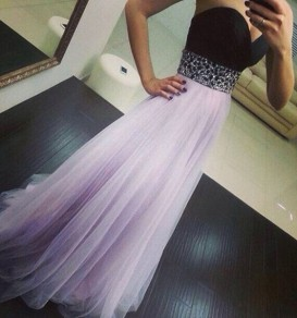 Light Purple Patchwork Bandeau V-neck Sexy Maxi Dress