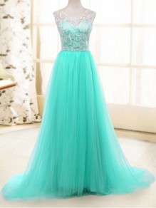 Light Blue Patchwork Lace Hollow-out Sleeveless High Waisted Tutu Tulle Sweet Fashion Prom Maxi Dress