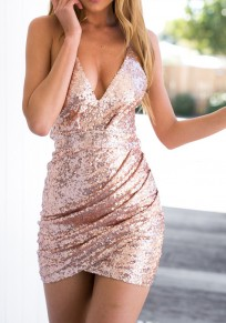 Golden Pink Wrap Sequin Glitter Spaghetti Strap Bodycon V-Neck Clubwear Elegant Party Mini Dress