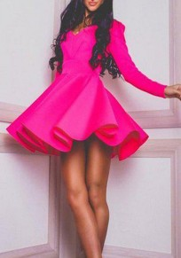 Pink Plain Ruffle Round Neck Fashion Mini Dress
