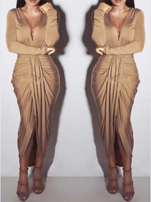 Khaki Wrap Deep V-neck Long Sleeve Ruched Party Maxi Dress