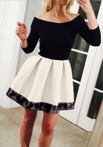 White Patchwork Black Lace Pleated Boat Neck Mini Dress
