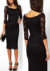 Black Plain Hollow-out Lace Round Neck 3/4 Sleeve Fashion Midi Dress
