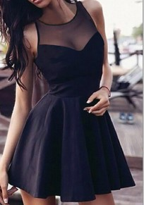 Black Patchwork Grenadine Pleated Sweet Round Neck Sleeveless Mini Dress