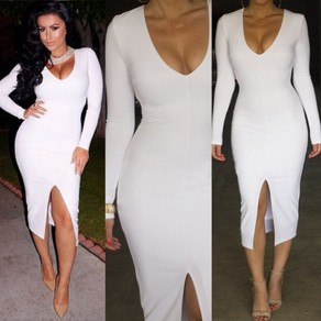 White Plain Deep V-neck Long Sleeve Slit Front Bodycon Casual Midi Dress