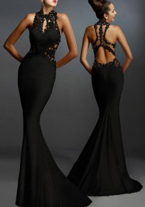 Black Lace Patchwork Elegant Backless Mermaid Evening Party Maxi Dress