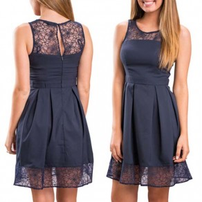 Navy Blue Patchwork Lace Pleated Round Neck Sleeveless Mini Dress