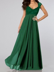 Green Lace Spliced Pleated Scoop Neck Elegant Chiffon Maxi Dress