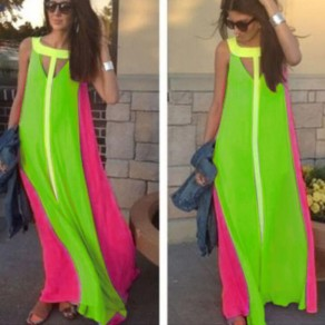 Green Color Block Draped Cut Out Round Neck Maxi Dress