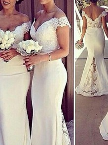 White Splicing Lace Grenadine V-neck V-Back Mermaid Bridesmaid Maxi Dress