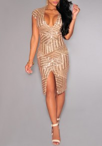 Champagne Golden Plain Striped Sequin Splicing Irregular Front Slit Plunging Neckline Bodycon Sexy Party Midi Dress