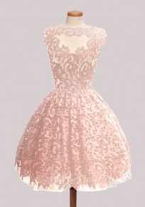Pink Plain Lace Pleated Puffy Sweet Homecoming Party Mini Dress