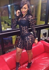 Black Plain Lace Hollow-out See-through Bodycon V-neck Clubwear Mini Dress