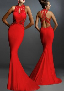 Robe longue sirene dentelle cocktail dos nu sans manches sexy femme rouge