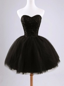 Schwarz Strass Bandeau Trägerloser Tutu Schnürung Elegant Ballett Minikleid Tüllkleid Abendkleid Kurz