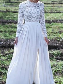 White Patchwork Lace Draped Zipper Side Silt Maxi Dress