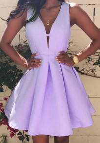 Purple Cut Out Pleated High Waisted Skater Deep V-neck Graduated Homecoming Party Mini Dress