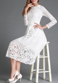 White Plain Hollow-out Lace Round Neck Midi Dress