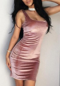 Pink Plain Shoulder-Strap Sleeveless Pleuche Sexy Bodycon Mini Dress