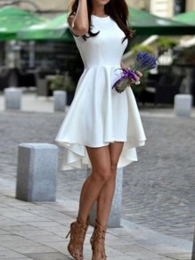 White Pleated High Waisted High-low Sleeveless Graduated Homecoming Party Sweet Skater Midi Dress
