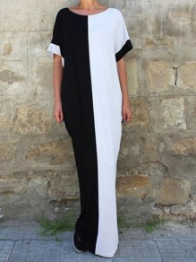 White-Black Patchwork Draped Pockets Islamic Muslim Abaya Fashion Beach Maxi Dress