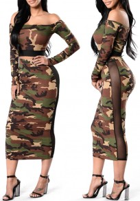Army Green Camouflage Print Grenadine Off Shoulder Two Piece Bodycon Maxi Dress