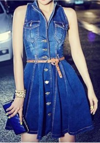 Blue Pockets Single Breasted Belt Homecoming Party Prom Denim Skater Mini Dress