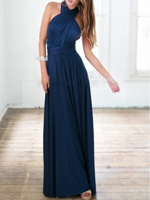 Navy Blue Irregular Draped Sashes Multi Way High Waisted Elegant Formal Prom Maxi Dress